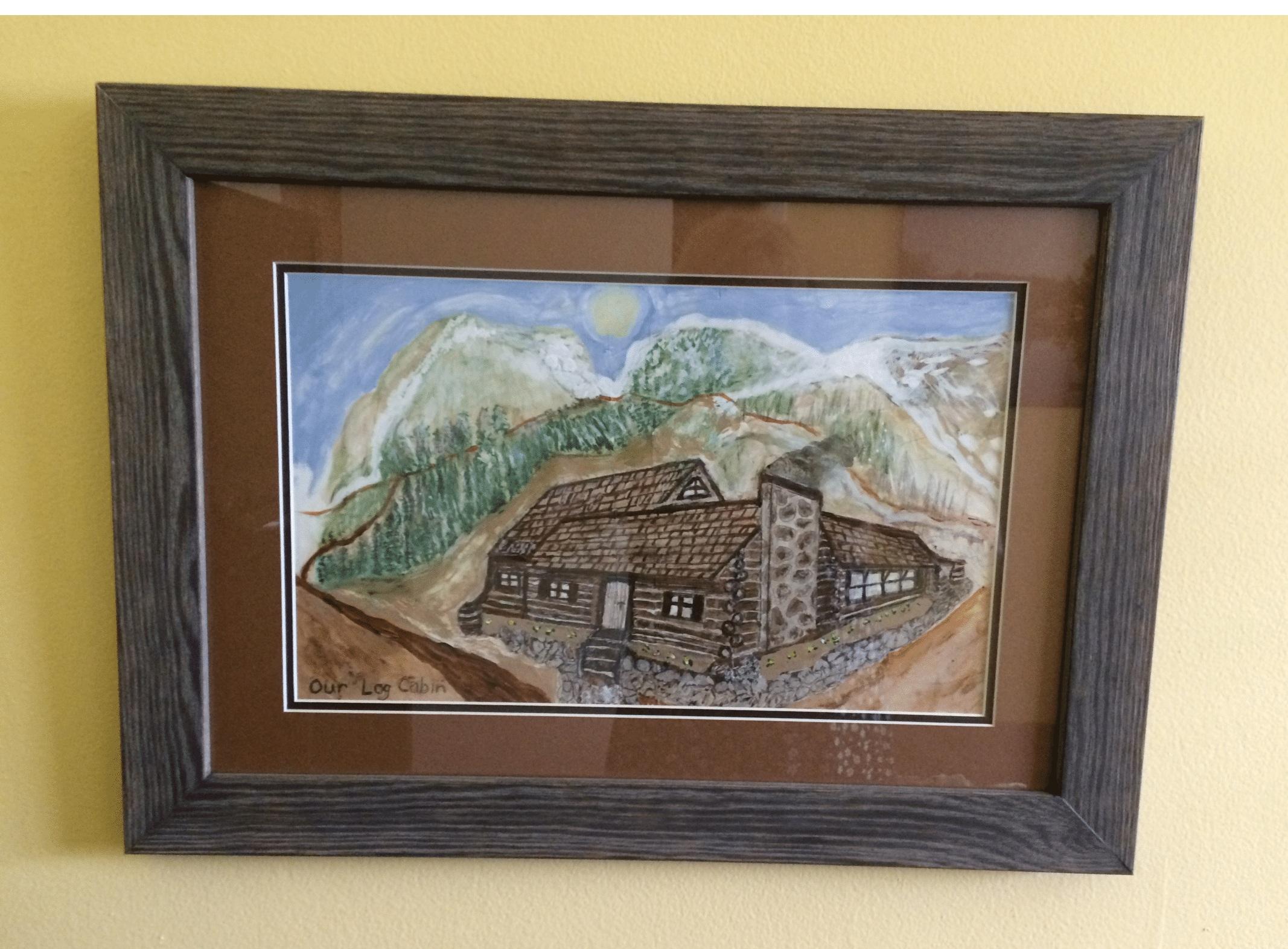 'Dream Rocky Mountain Log Cabin' in acrylic