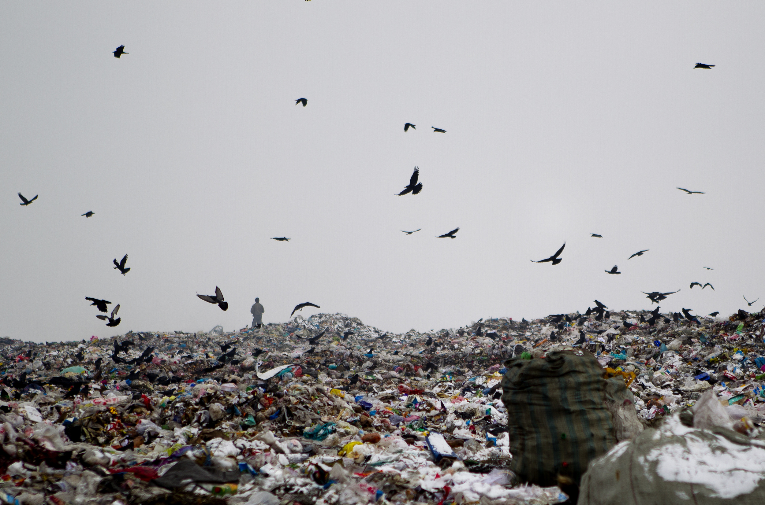A homeless man stands in the distance at a large landfill outside of Bishkek. Many homeless people pick through trash at the landfill, or from dumpsters in town,and some even live at the landfill.