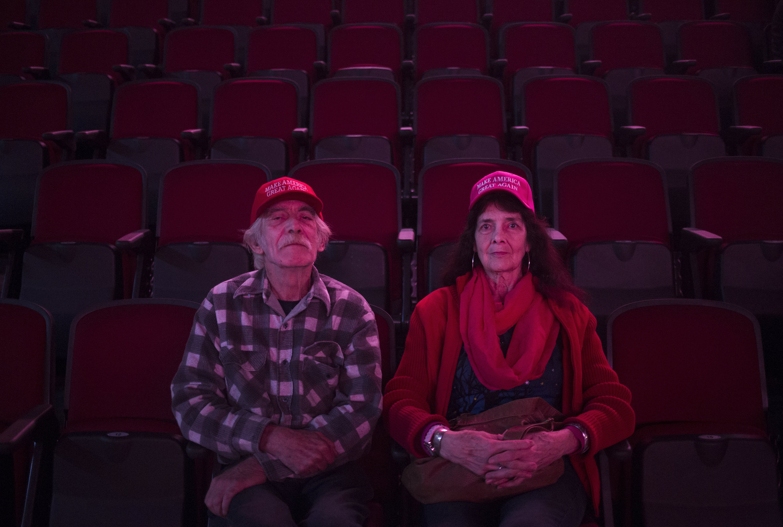 Don and Judy Harvey take their seats early to ensure a good view before the start of a Donald Trump rally in Bangor. During rallies in Maine Donald Trump spoke a lot about the loss of manufacturing work in America, a harsh reality for many voters of the mill towns in the second district.
