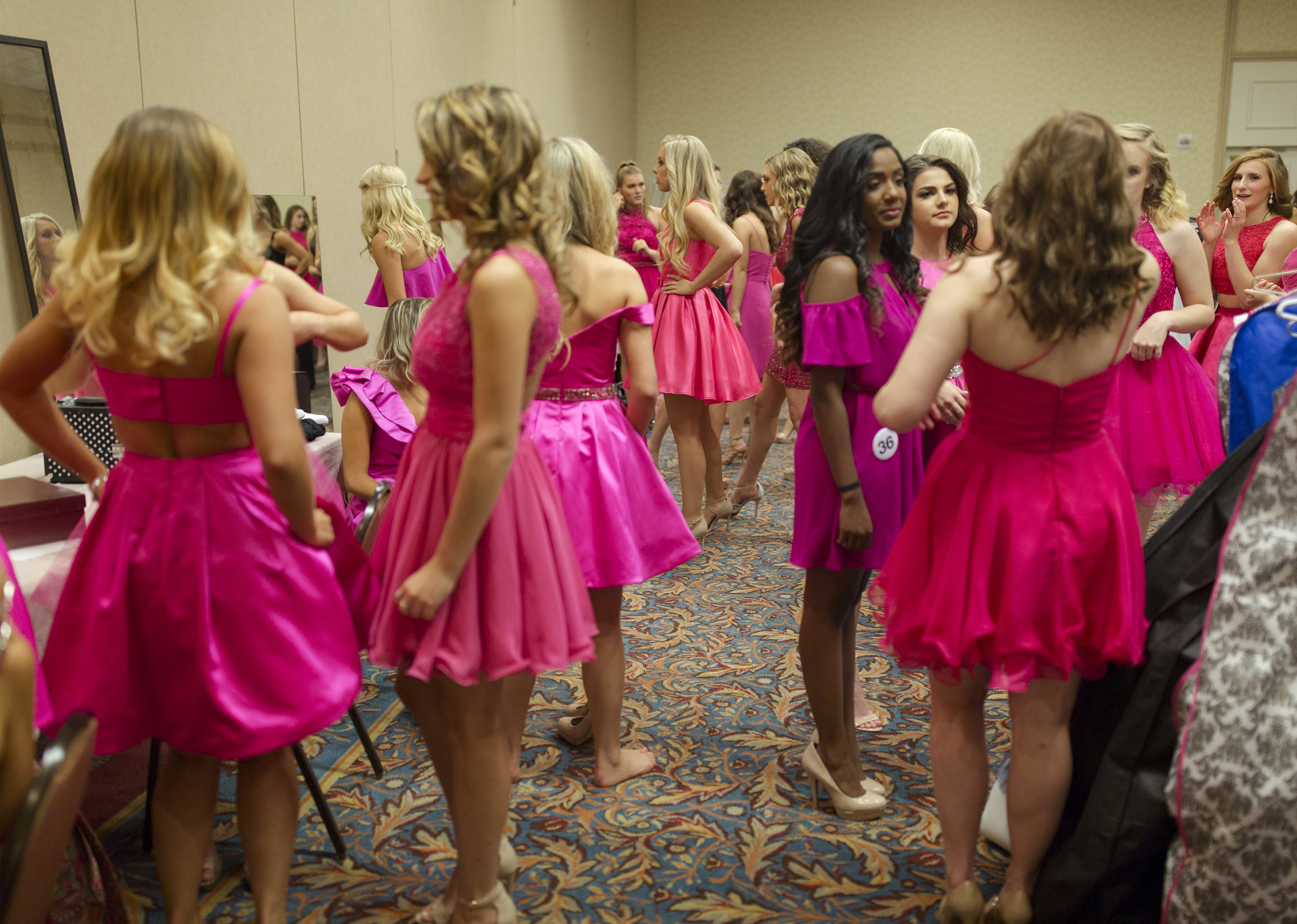 Miss Maine Teen USA contestants in the back room before going on stage. Miss Maine and Miss Teen USA are held simultaneously.