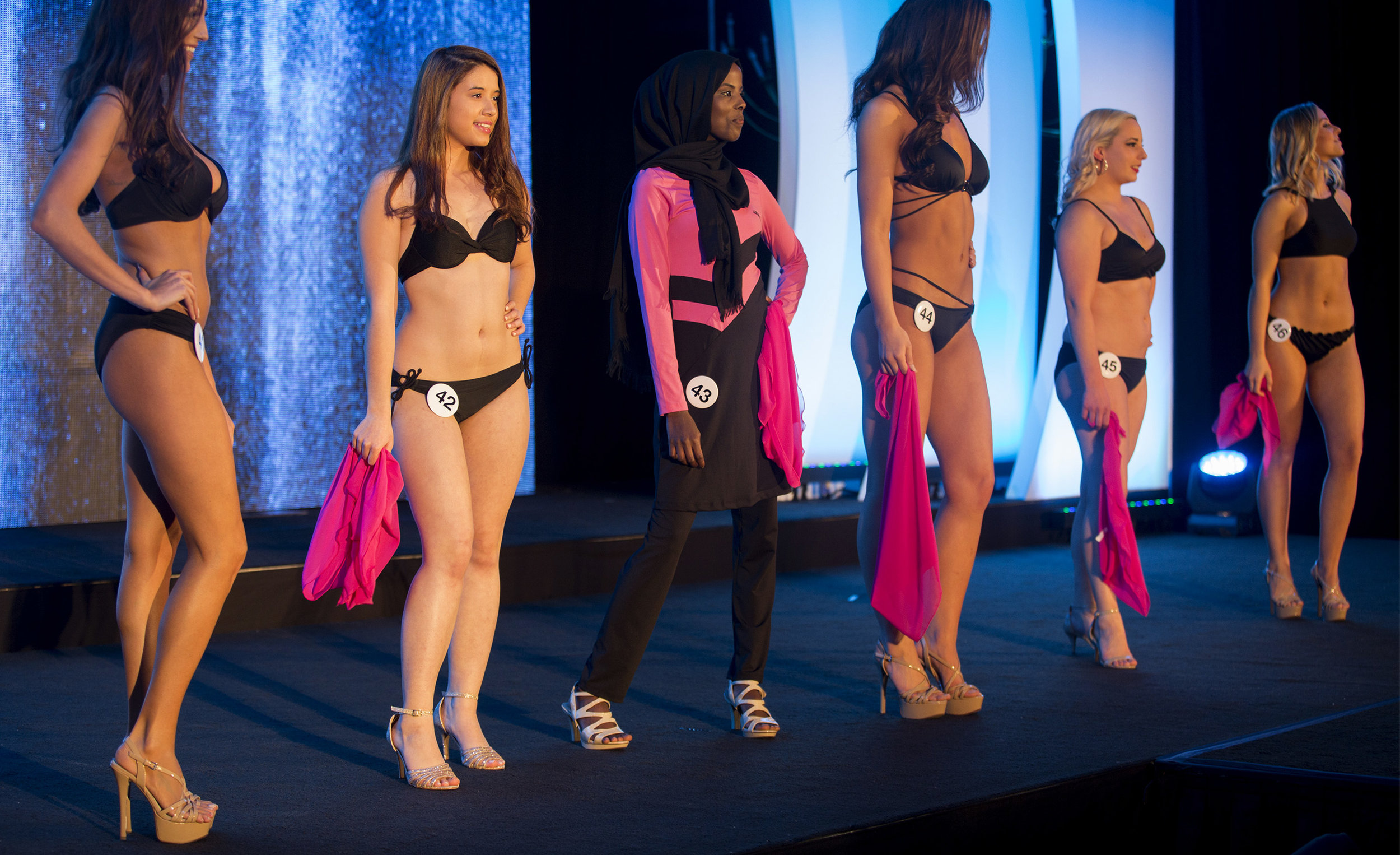 Ahmed dons her burkini during the swimsuit portion of the competition.