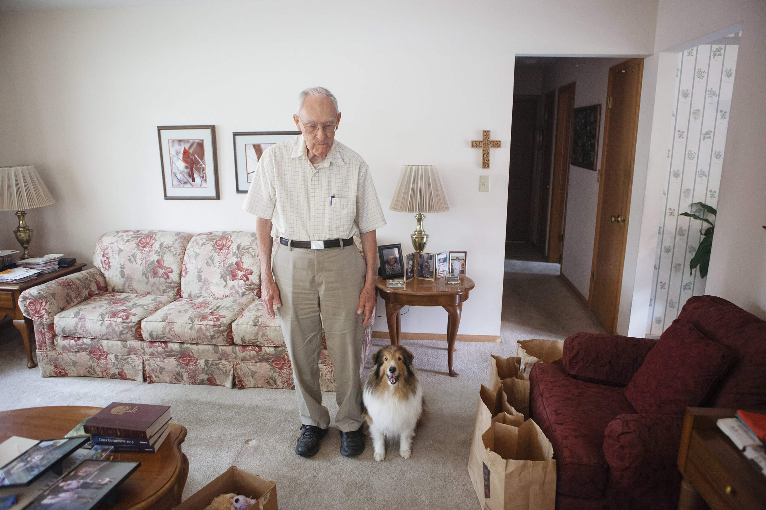 Vince Kamrath and his award-winning dog Flipper at his Lincoln, Nebraska home. Kamrath, 88, and Flipper recently retired from obedience competitions.