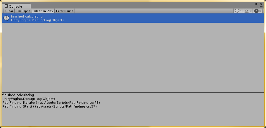 Here is the debug console showing the debug message that all the paths have been precalculated
