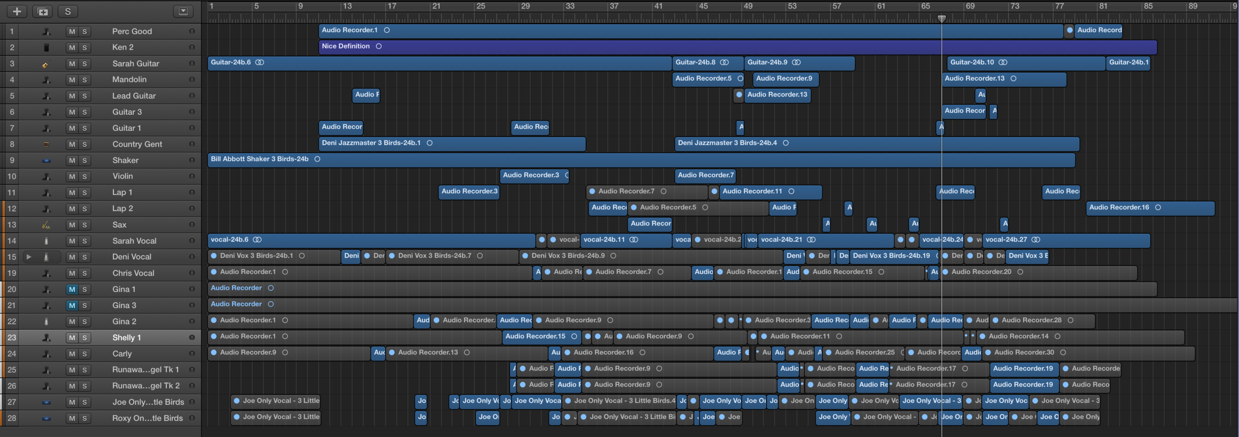 Audio & Video Edit lines from the project.