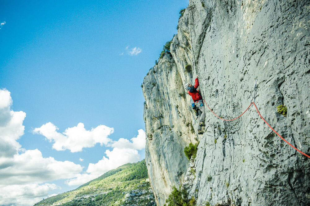 Pete Traylor rock climbing in the Verdon Gorge, France.