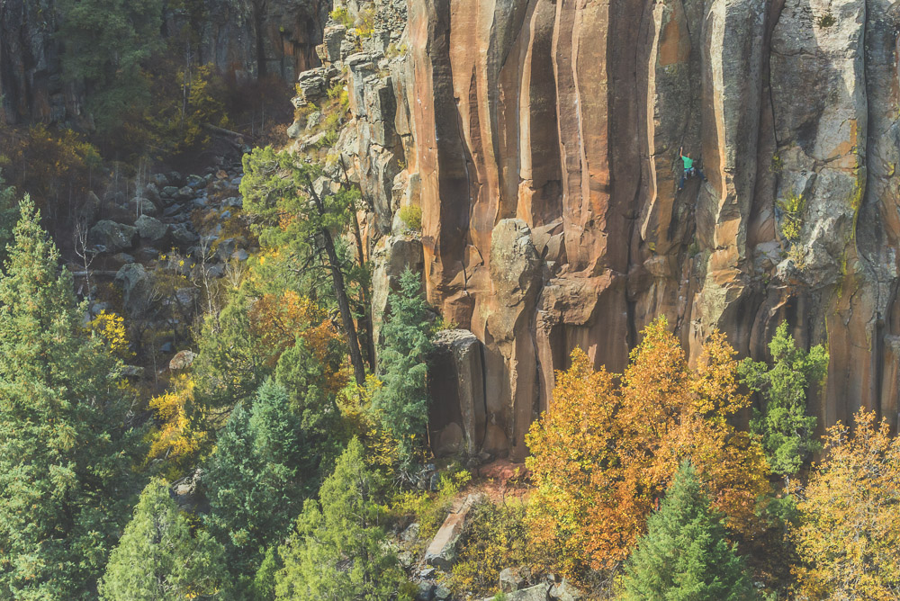 Jake Dayley rock climbing at the Paradise Forks