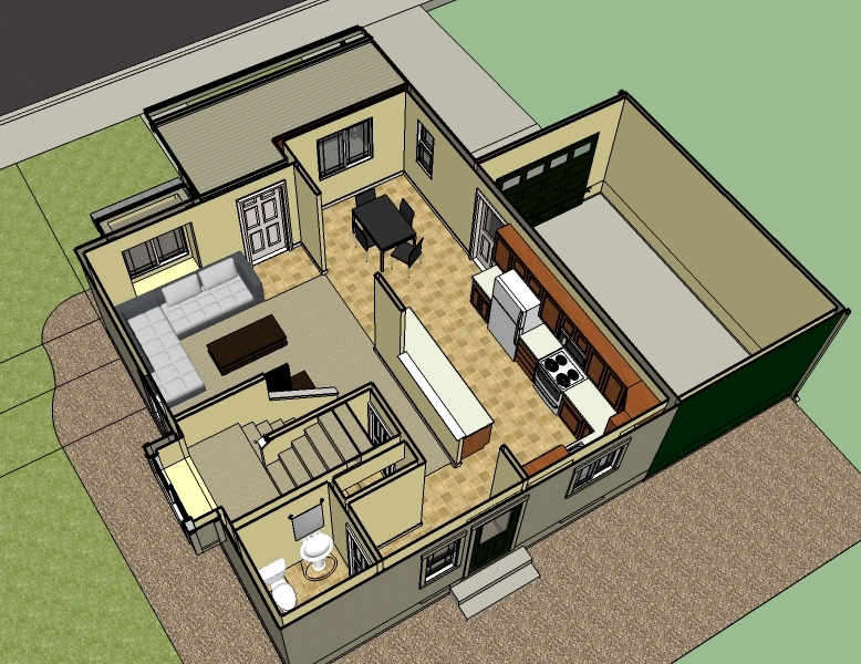An example of the 1st level interior floor plan for town homes in the Poplar Grove development.(Artist's rendering, sizes and elevations may vary)