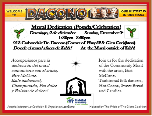 12/1/18 - Join us at the Mural Dedication in Dacono on Sunday, December 9th.  Click for a larger image.