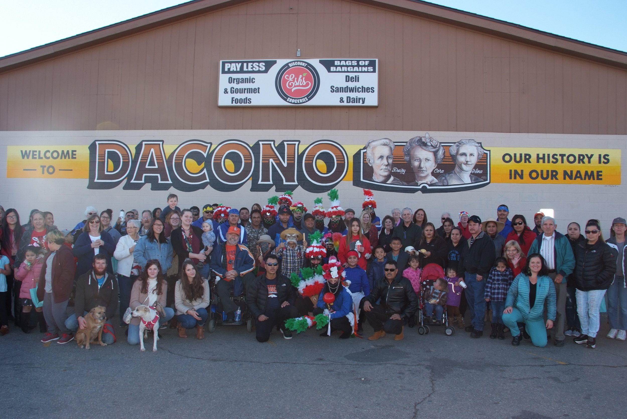 12/20/18 -  It started as an idea one year ago… On December 9th, neighbors gathered to dedicate the new Mural at Esh's with a Posada/ Celebration!   Local artist, Bart McCune designed and installed the mural this fall to honor the history of Dacono. The mural was one of 4 community projects identified by the Pride of The Glens Coalition and funded by Wells Fargo to build community this year. Nearly 70 folks attended to celebrate with hot cocoa, traditional champurrado, sweet breads and traditional Mexican dancers, los matachines!  Learn more about Neighborhood Revitalization .   What does 'community' mean to you?