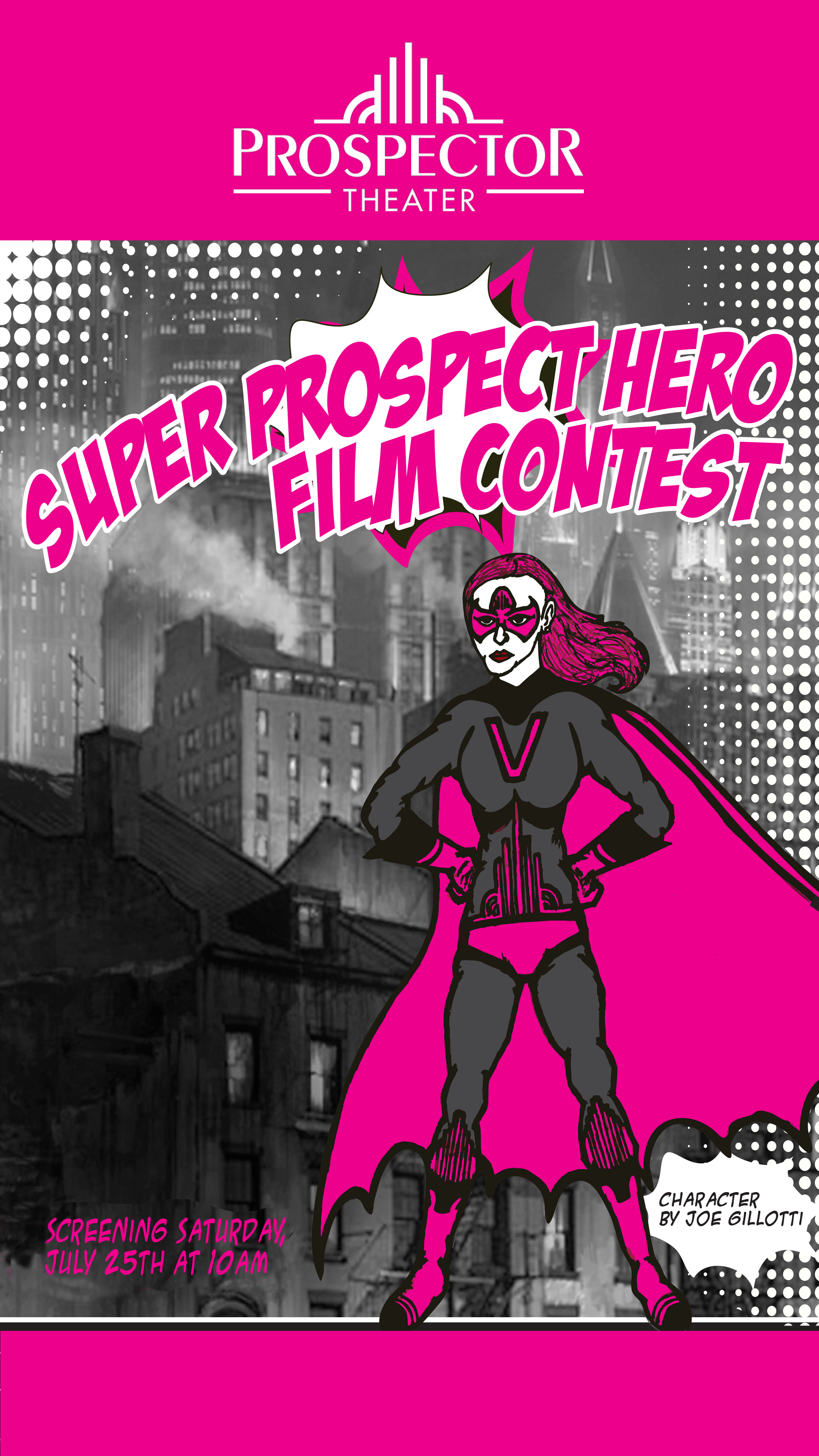 A pink and black-clothed superhero triumphantly stands in a black and white city.