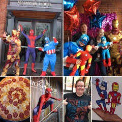 Costumes are always encouraged, whether a Prospect who is working is dressed as the film's superhero or customers come as their favorite character! Prospects love getting in the spirit of the movie and make it an experience! Where else can you get Captain America Pizza, take pictures with the Avengers, and have a piece of art custom made with your favorite superhero's?