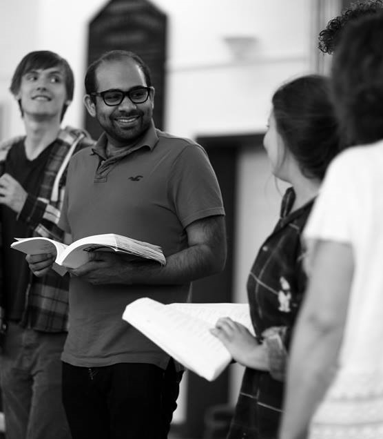 Akhil   in rehearsal, with  Freddie Cox ,  Frankie McKean  &  Maria Langford   (Photo courtesy of  Front of House Photography  )