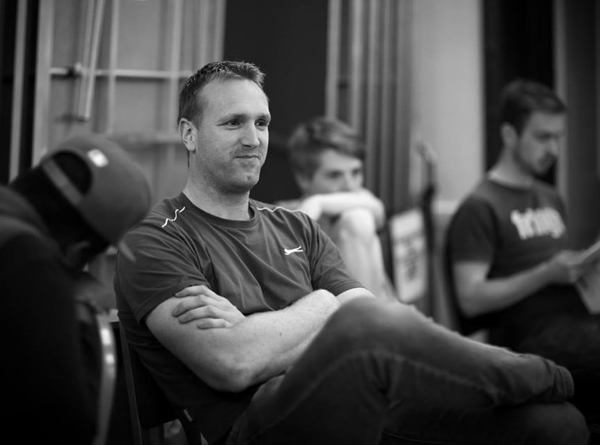 Paul ,  ready to make an impression in rehearsal,  with Martin Woodhams & Daniel Owen  (Photo courtesy of  Front of House Photography  )