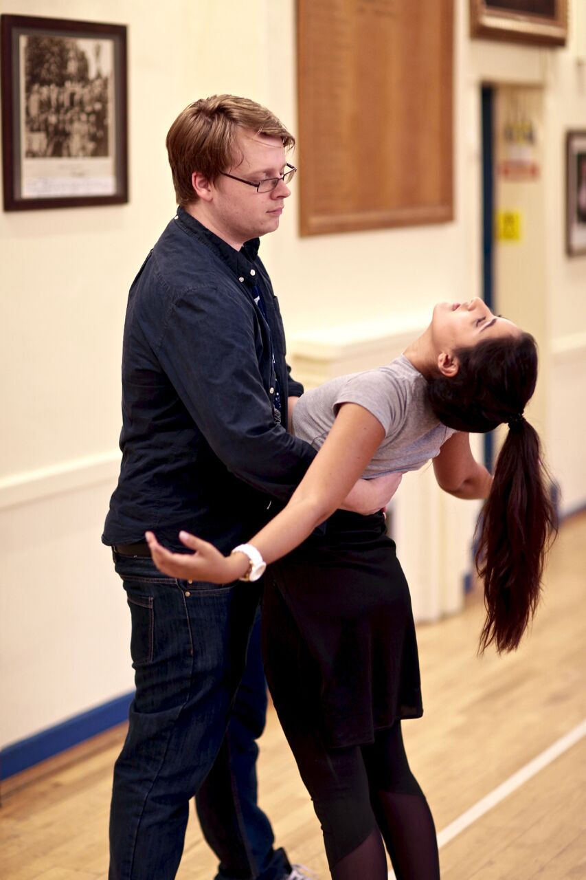 Moni in rehearsal with Jon Bingham (Photo courtesy of  FRONT OF HOUSE PHOTOGRAPHY )