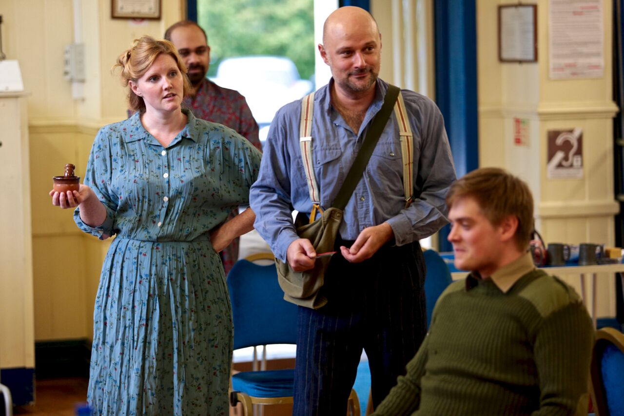 Sarah in rehearsal with Akhil Gowrinath, Darren Street & Frazer Woodhams (PHOTO COURTESY OF  FRONT OF HOUSE PHOTOGRAPHY )