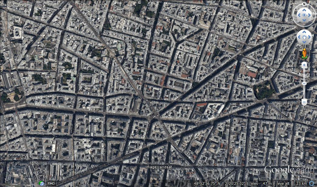 Google Earth image of a typical area in Paris, France