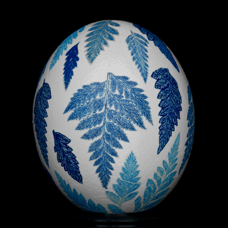 Blue Transferware Egg .Relief Monotype & 22k Gold Leaf