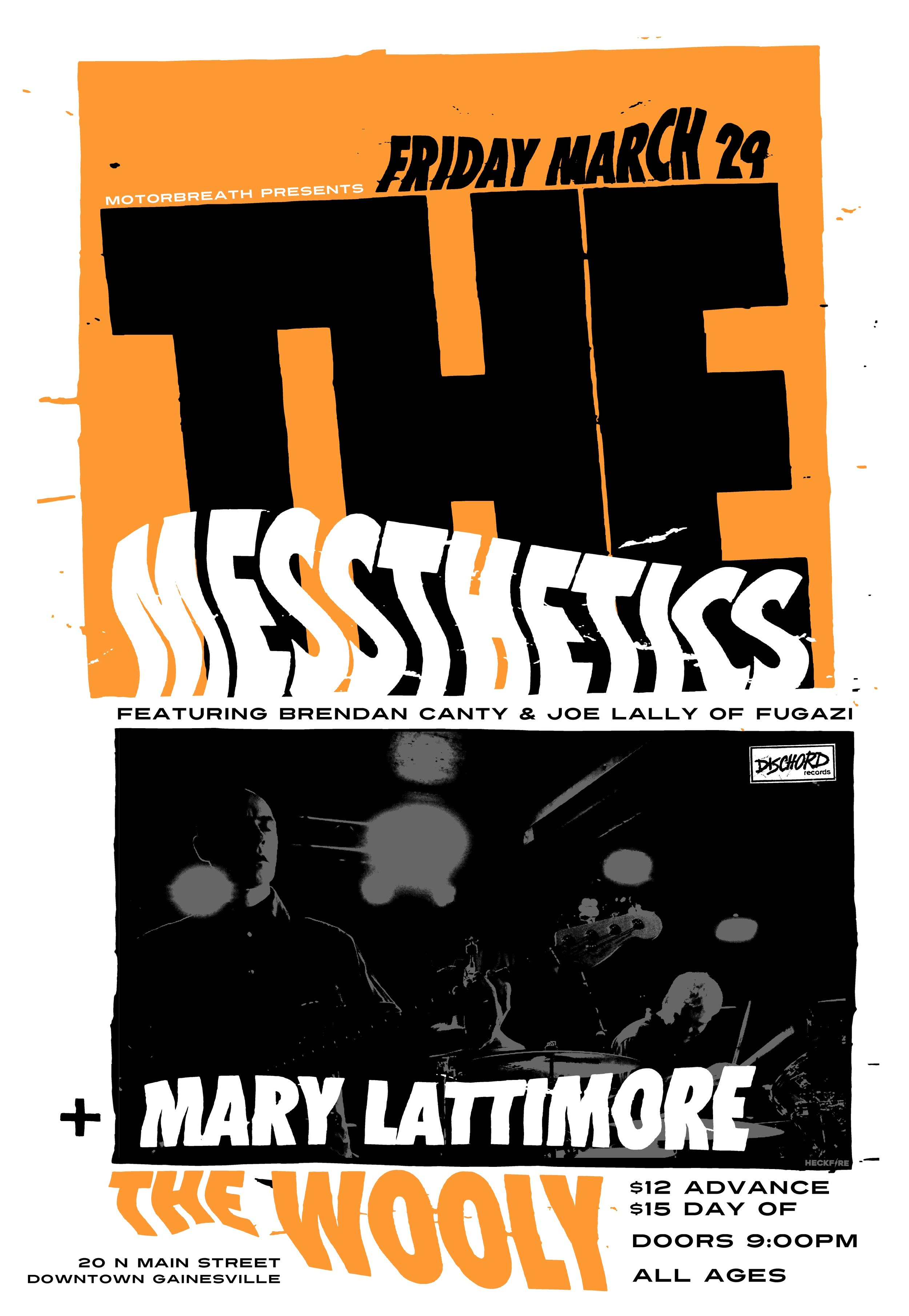 "Friday, March 29  Motorbreath Presents   The Messthetics  (Dischord Rec, featuring members of Fugazi)  Mary Lattimore / Harpist  + TBA  at The Wooly: 20 N Main Street, Gainesville FL 32601  Doors at 9pm, $12adv / $14dos (All Ages Show)   Buy Tickets   Tickets available at Hear Again & Arrow's Aim Rec  The last time drummer Brendan Canty and bassist Joe Lally were in a band together, they were the rhythmic architects for Fugazi, an organization whose decade and a half of disciplined progressivism provided a necessary bridge between the zenith of late-punk expression and everything alternative in rock that followed. In 2016, the two were enlisted by guitarist Anthony Pirog in a conspiracy to subvert and reimagine the power trio, bringing fully into the 21st Century a form that may have reached near perfection with Hendrix's Band of Gypsys on the very first day of the 1970s. With a self-titled recording scheduled for release in the Spring of 2018 on Dischord, the Messthetics will widen the reach of a decisive instrumental music that so far, they have only shared with a privileged handful of east coast and southern audiences. Across its eight original compositions and one cover, Anthony guides the sound through complex changes and harmonic densities that might compound, but never confound or muddy its connection with the listener's body. Recorded by Brendan in their practice space, the group's debut gives Anthony ample opportunities to swap guitar textures and styles as freely as an octopus changes patterns. Brendan's kit has a big heavy bell that he brought back from the Fugazi days. He maneuvers through this rhythmically shifty music with a fluid briskness that is periodically disrupted by the clang of his bell. Joe spent 8 years in Italy, among other things, woodshedding on eastern rhythms counted in 7 and 13, perfect preparation for the oddly-metered work of the Messthetics. He brings a rock-solid foundation to the groove at the same time playing a harmonic complement as ambitious and interesting as Anthony's lines. Bands can be dangerous when their members have accrued enough mileage to see their chops season into something like musical wisdom. When that understanding has the rare opportunity to percolate through a collaborative environment founded in love and anchored in gratitude, well, then shit can get rather intense. Anthony Pirog writes difficult music because original music usually is. Yet the ideas that he feeds through the Messthetics, are embraced by the Canty-Lally time machine, not just with precision and nuance, but with soul, joy, and groove. These last three are, indeed, the big guns in this spiritual war that music must become in the post-Trump era. The initial concept was to mix noise/improv guitar with dance grooves – a kind of apocalyptic dance party where the beat keeps you moving, but the guitarist relentlessly terrorizes you. The first track, ""Mythomania"" retains elements of that posture, but as reality has itself become more daunting, Anthony – a fearless guitarist – has moved closer to his listeners, and is now willing to astonish without being so confrontational about it. That doesn't mean the Messthetics in any way retreat from the responsibilities of a ""hard"" sound, just that its volume and edge never eat the bold structural ideas that define this new music. Anthony will even lubricate his tricky time signatures with energetic two-note riffs to keep the listener head-bobbing through the twisting structures. And when their collective voice is thick and heavy (like on ""Crowds and Power""), it is neither ponderous nor plodding. Their performances and this debut recording have a lift and buoyancy that reflect back into the audience the love and gratitude at the foundation of this trio's journey  — Dr. Thomas Stanley (aka Bushmeat Sound)"