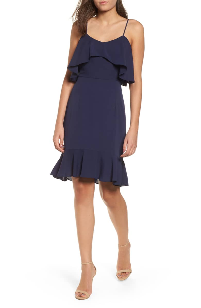 Who wouldn't love  this  navy ruffle dress?