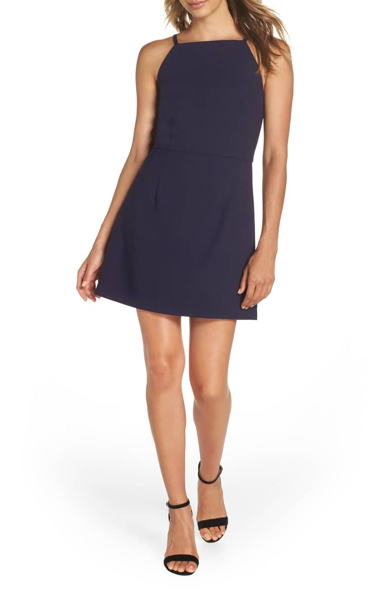 Nordstrom carries  this navy dress . Perfect for so many different occasions!