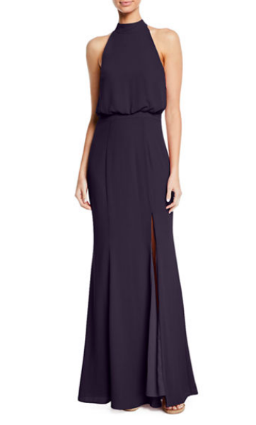 The shape of  this navy dress  is so flattering! It also is available in a dreamy blush color.