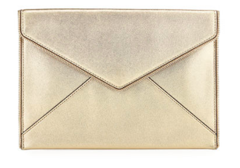 We love this  Rebecca Minkoff gold clutch ! It is also available in silver.