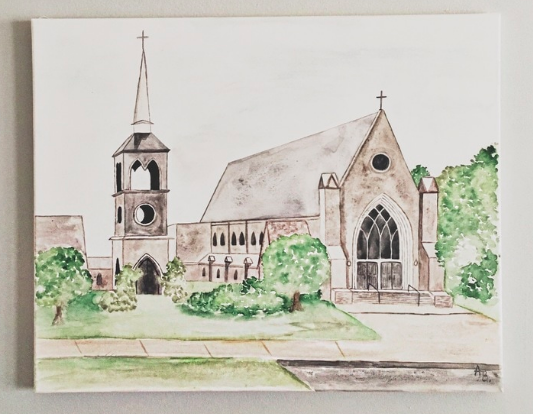 A really personal gift would be a custom painting of the church they got married in. Order a commissioned piece from  this  Birmingham-based company.