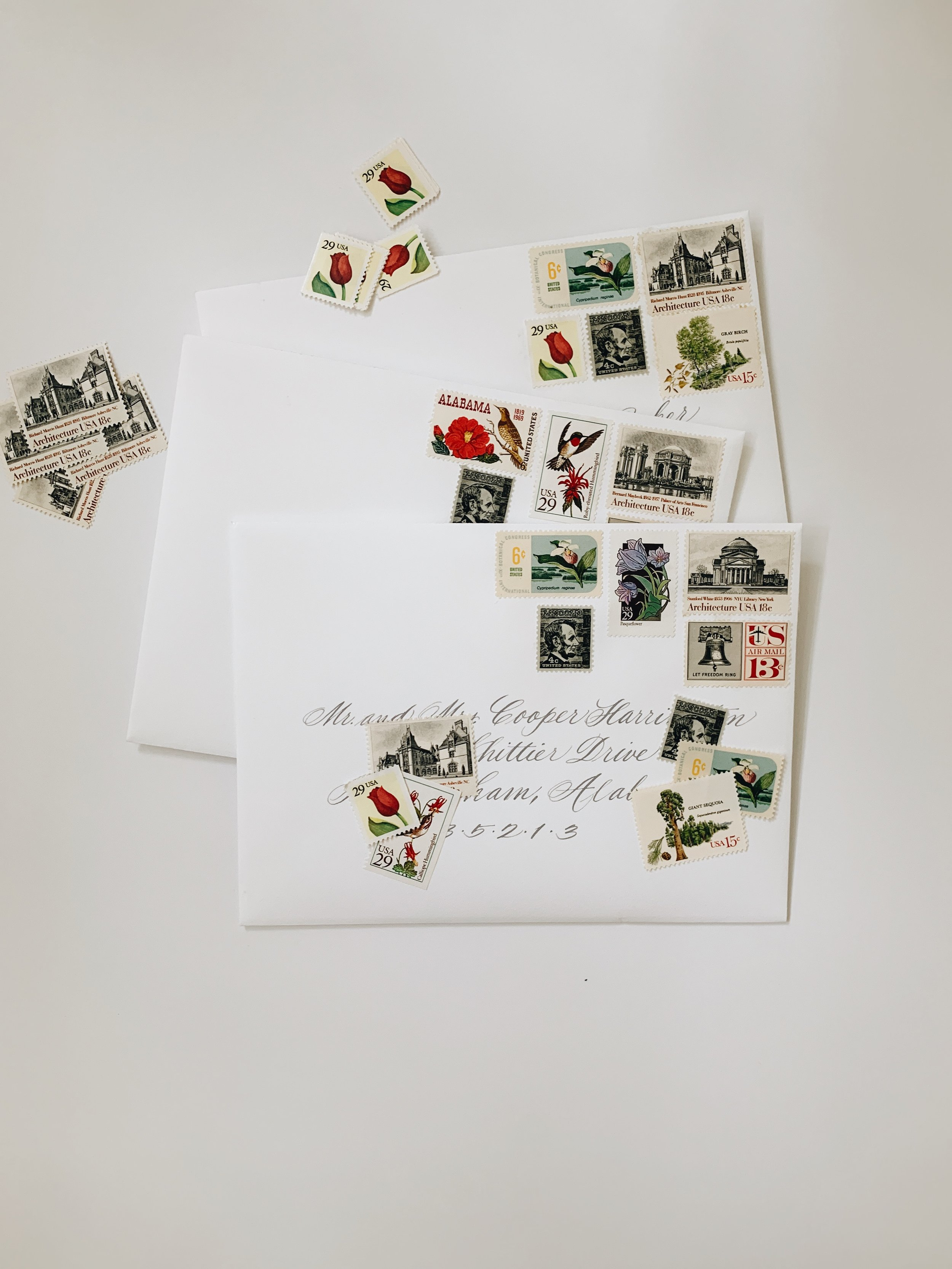 Vintage Stamps   Vintage stamps have the ability to turn any invitation into something different! By combining multiple different stamps a couple can add their own personal touch.
