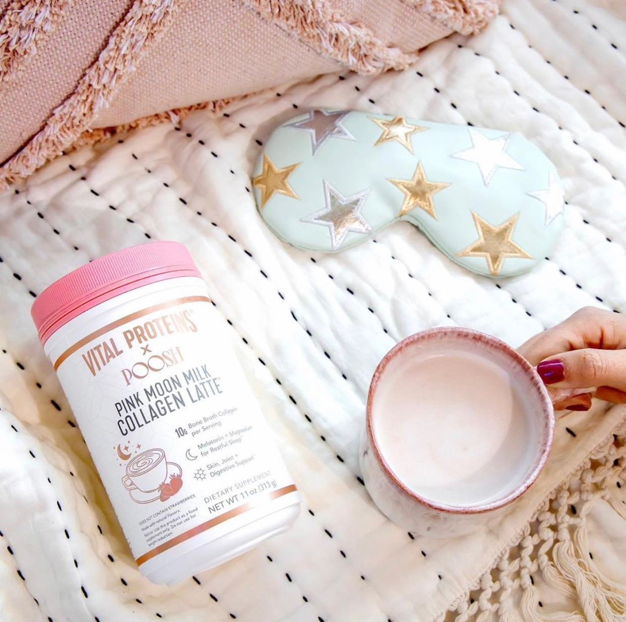 Everyone needs their beauty sleep and Vital Proteins has collaborated with Kourtney Kardashian to help give you just that. BONUS it tastes like strawberries!! This collagen latte helps to support hair, skin, and nails mixed with melatonin and magnesium! So if you are needing some good beauty sleep, this sweet drink is perfect for you!