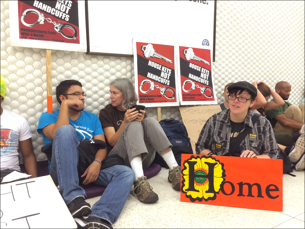 November 8, 2014 at the Coalition on Homelessness' SLEEP-IN & Picket to call for an end to BART police harassment of people sleeping in transit stations