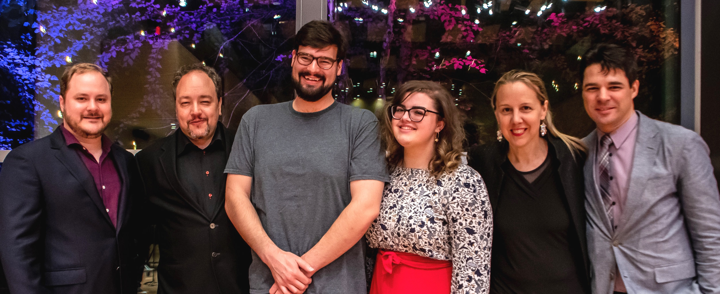 From left to right:  Stephen Cabell  ( Composition Faculty/Coordinator ),  Robert Paterson  ( Composition FacultyArtistic Director ),  John McKeever  ( Conductor/Resident Advisor ),  Grace Law  ( Artistic Administration ),  Victoria Paterson  ( Violinist/Executive Director ), and  Sebastian Danila  ( Librarian )