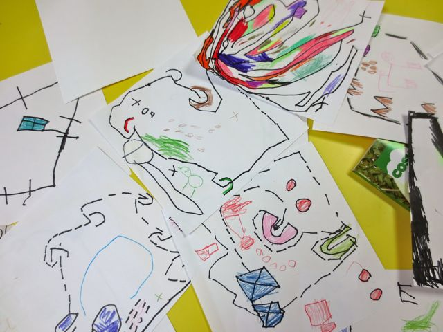 A collection of maps reveals how each child documents their own unique and yet shared recollection of the walk to the Giant Fallen Tree. Notice all the different ways to document deer scat and pink flamingos!