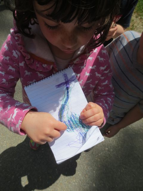One of the children brought a map she made at home. She was especially afraid of this idea of navigating the trail without the help of an adult so she drew this map to help her get through it. The first time the children went, she stayed with me. I showed her how the children would stop to make eye contact with me before continuing. When they got back from their adventure, they wanted to go again. This time she went with them. Win!