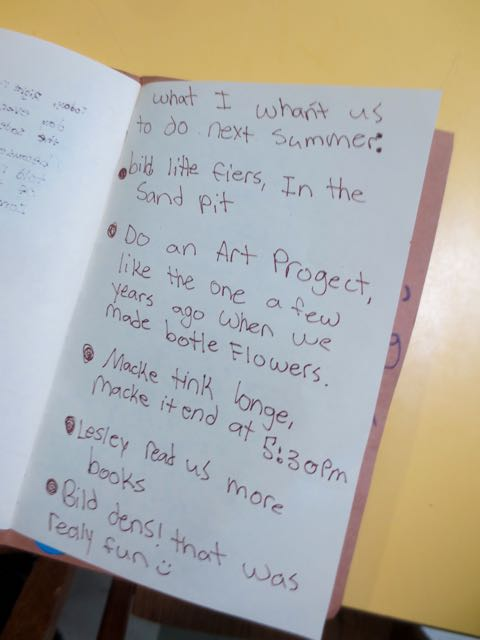 "We regularly ask the nursery school children about their experiences. ""What works for you and what doesn't?"" is the prompt. This photo shows the written suggestions from one of our Tink campers. ""What worked and what would make your experience better?"" was the prompt they used to help us build a better program next year."