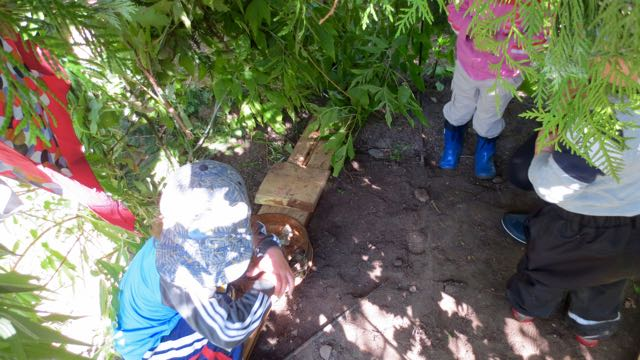Children collect in a leafy shelter and immediately begin setting up a house.