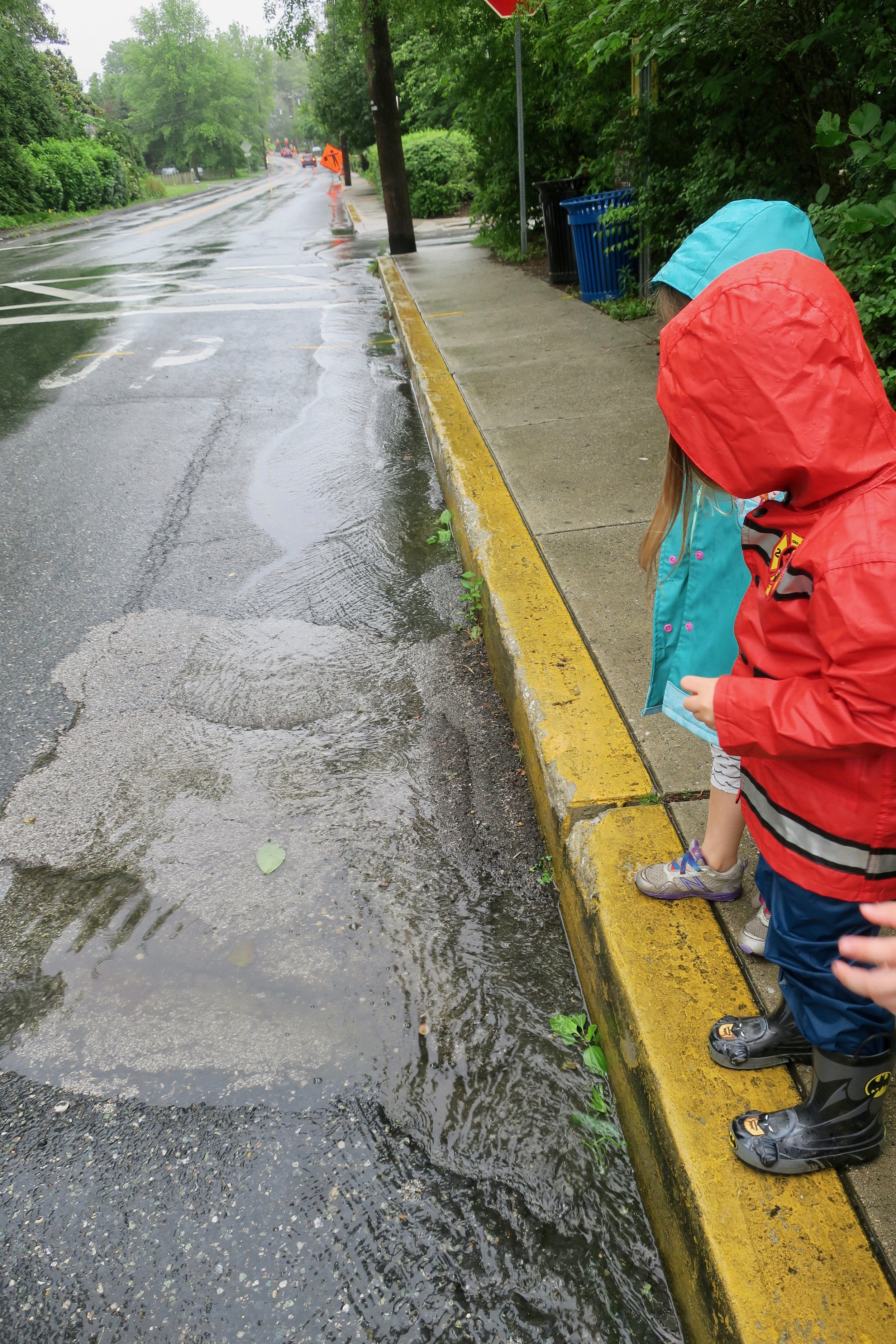 Training eye and head movement. The children race leaves in the rain along the gutter in front of the school. Bonus points because the rain runs left to right and then down the hill. Nature brings us amazing presents every day.