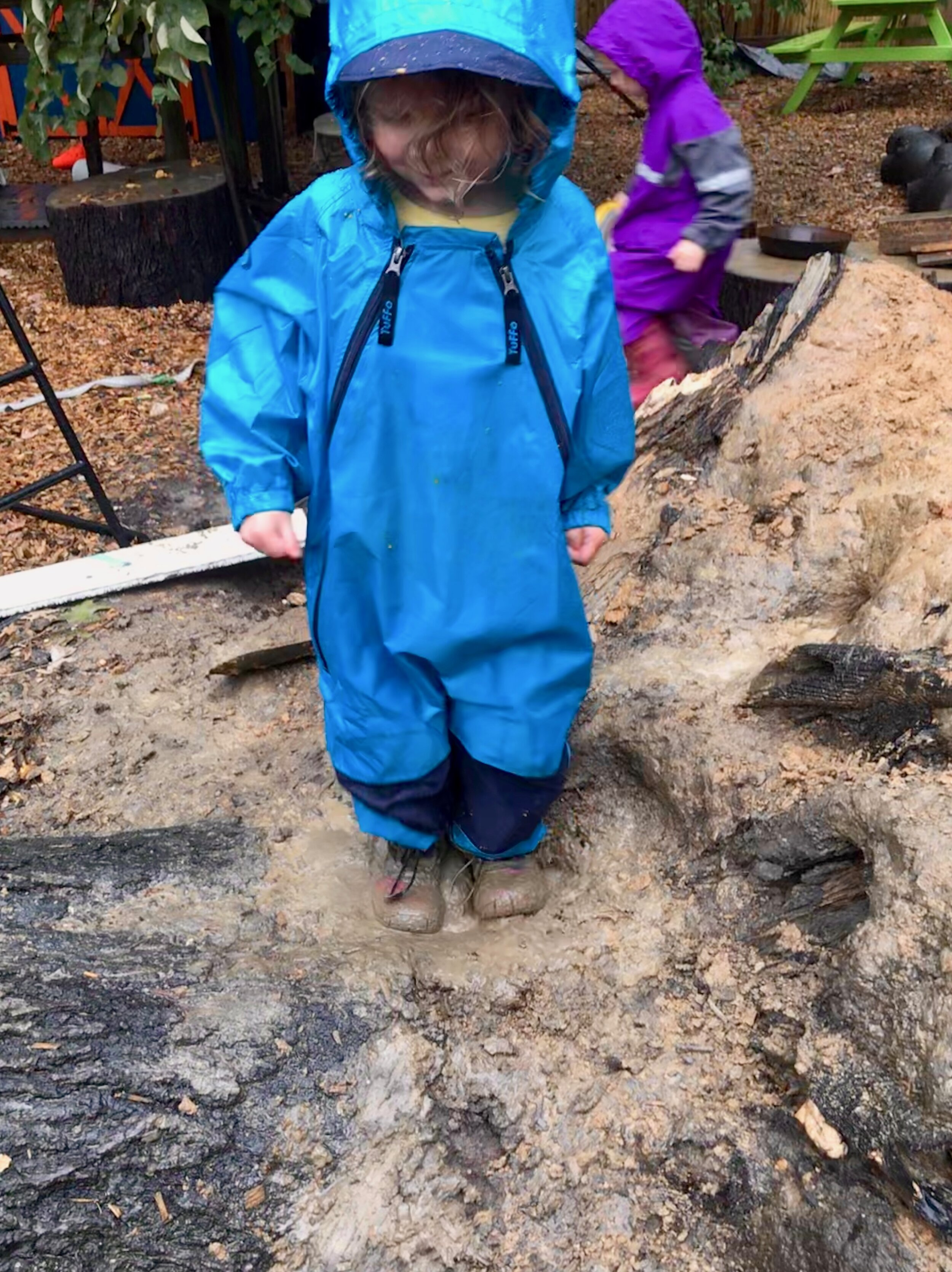 The rain was so fabulous that there was a mud puddle ON TOP of the fallen tree. Amazing!