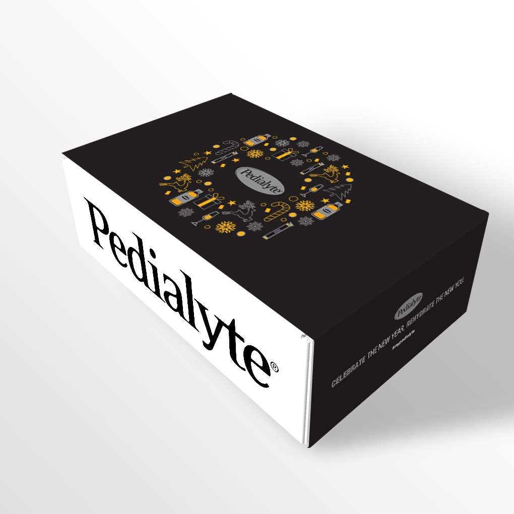 Pedialyte New Years Eve Surprise and Delight Kit—Silver & Gold Wreath Concept