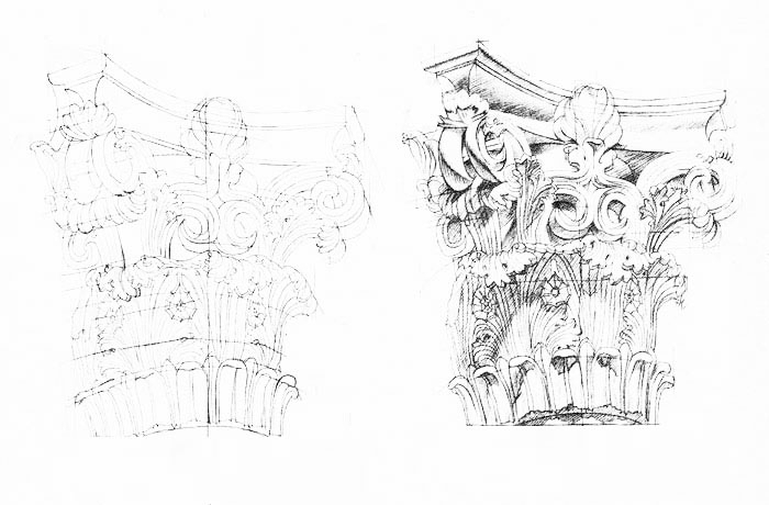 Sketch of the roman building capital Devious Augustus. Also called the Temple of Caesar or Temple of Divus Iulius. Many of the temples and 'religious' structures of the Augustan age were Corinthian, such as the temple of Mars and Ultor. The sketch was intended to show the fusion of Greek ideology and influence in so much of roman architecture. I have always been interested in the early Roman culture and their influence by the Greeks, particularly the early Greek philosophers Plato and Socrates and statesman like Cicero and Roman historians Titus Livius, Sallust and Tacitus which provide a well-developed understanding of Roman architecture.
