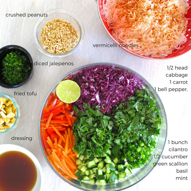 chilled pad thai salad