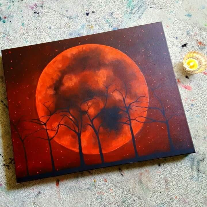 "This week's lunar eclipse is significant because it also happens to be a Full Super Moon in the sign of Aries.  ""Red Moon, Rise"" painting by Stephanie Weiss (also me)  For Sale"