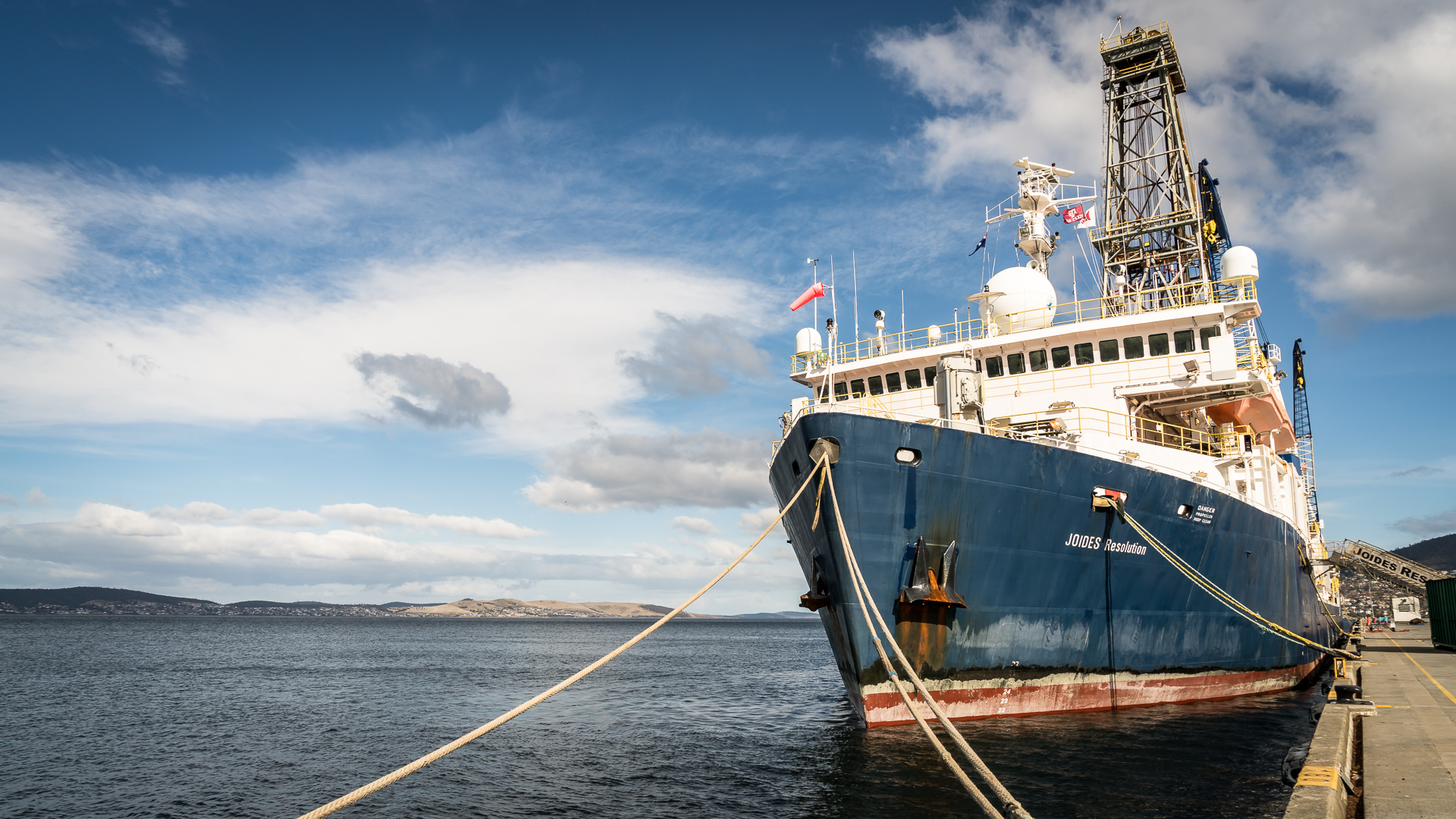 The JOIDES Resolution in port in Hobart, Australia. The boat only goes into port every 2 months to re-supply and start a new expedition Each expedition lasts two months and has a specific scientific aim.