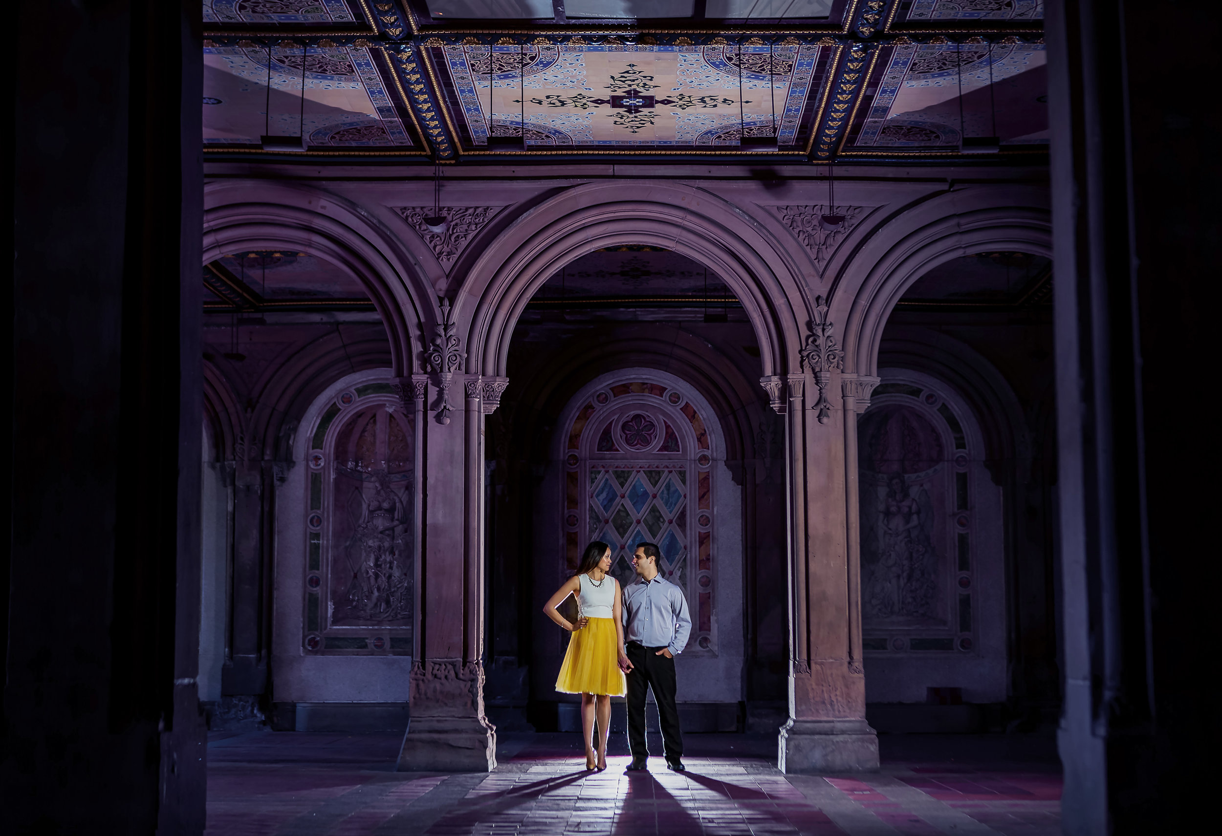 Bethesda Terrace NYC Engagement Photos at night