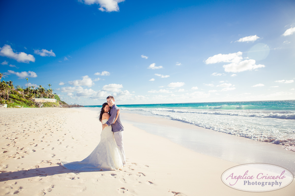Wedding photos on beach with wedding dress photo KristyPhilBarbadosWEB-1077