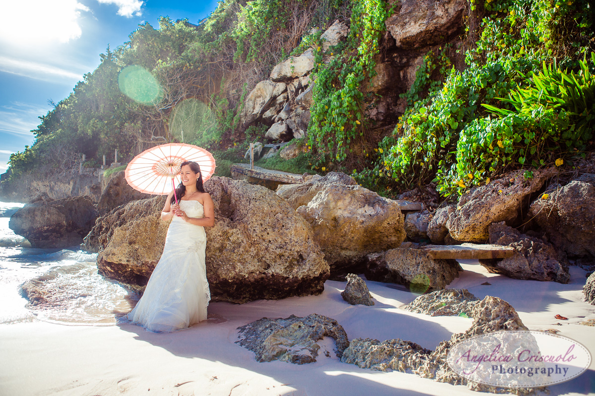 Bride photo on the beach cliff in destination wedding caribbean barbados KristyPhilBarbadosWEB-1102