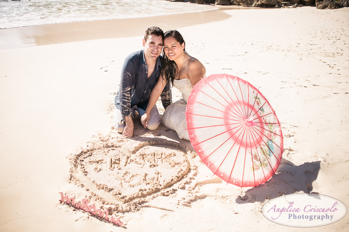 Heart on sand wedding photo pic bride and groom THANK YOU KristyPhilBarbadosWEB-1179
