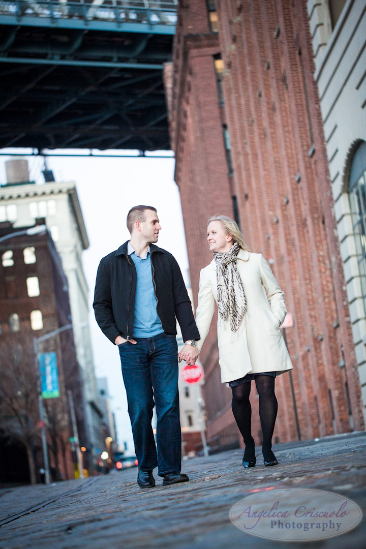 NYC Engagement Photo DumboBrooklyn Bridge Park Cobble Stone