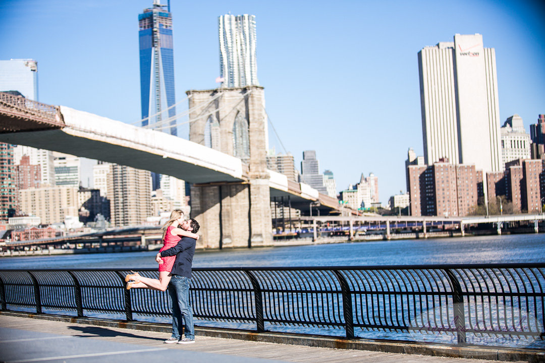 NYC Wedding Engagement Photographer Unique DUMBO Brooklyn Photos by the water