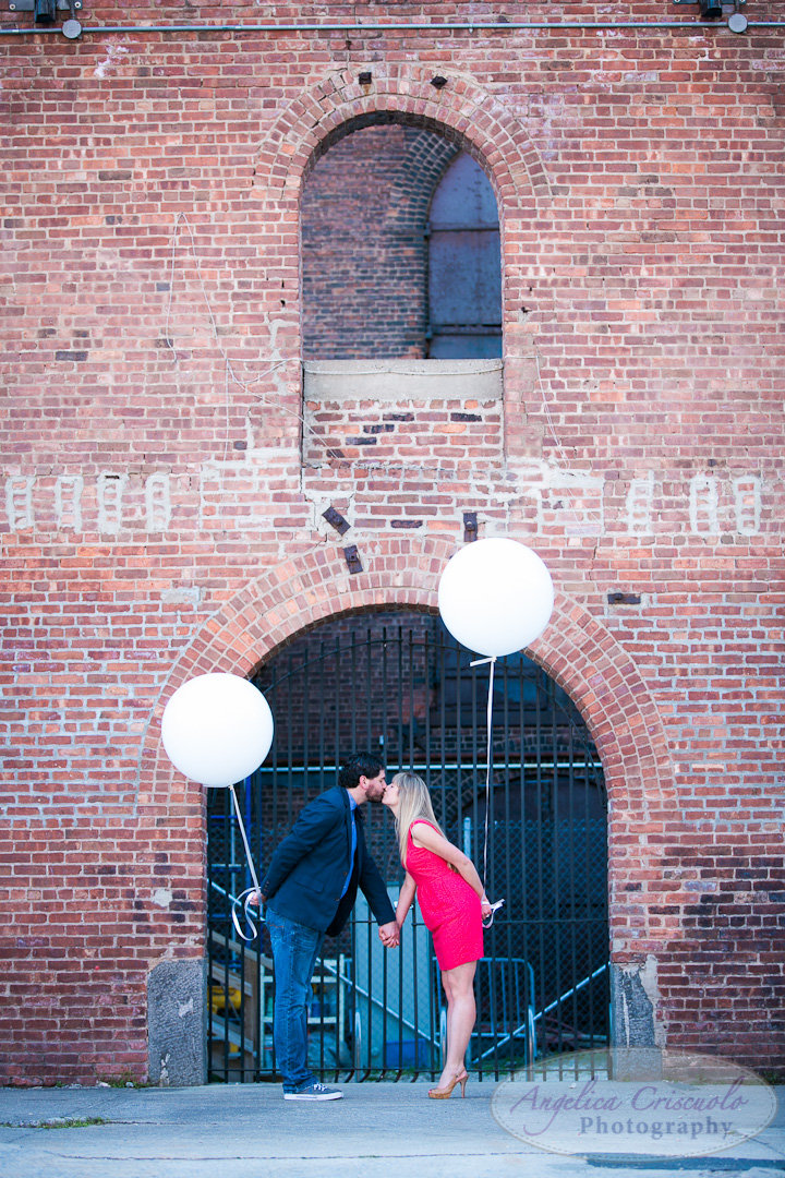 NYC Brooklyn Wedding Engagement Photographer and fun Balloons Unique ideas in DUMBO
