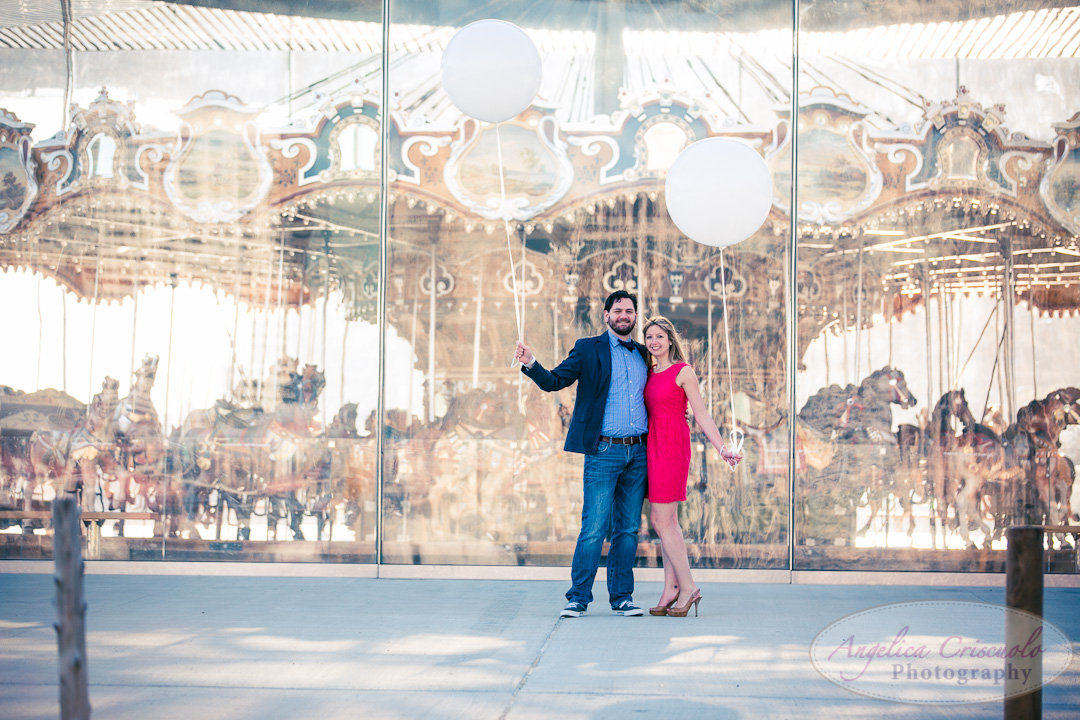 NYC Brooklyn Wedding Engagement Photographer Unique Carousel Balloons in DUMBO Photos